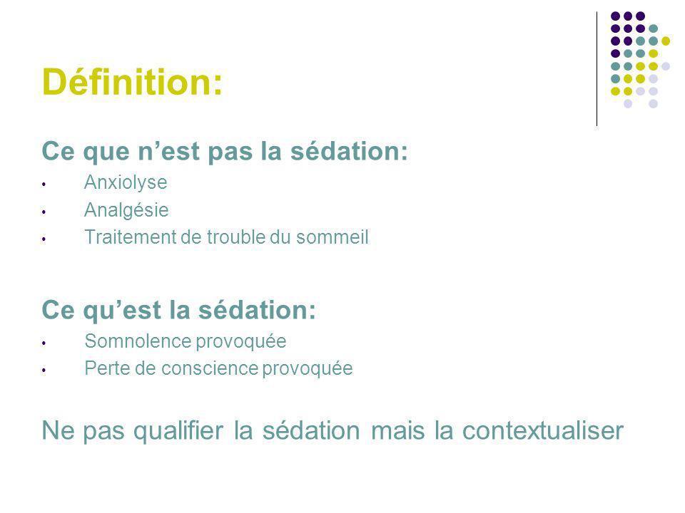 Définition: Ce que n'est pas la sédation: Ce qu'est la sédation: