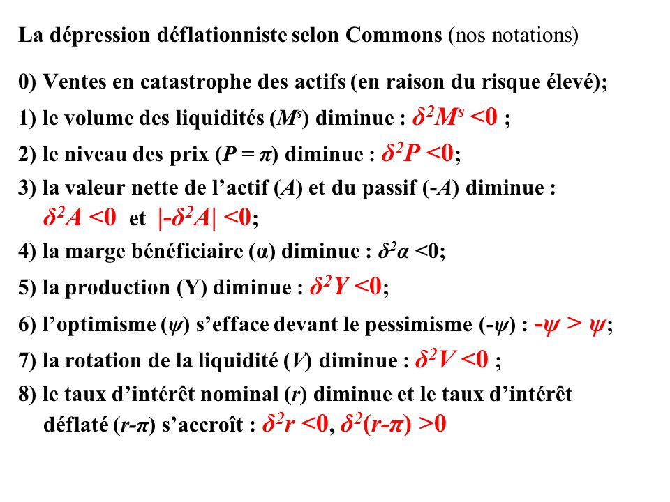 La dépression déflationniste selon Commons (nos notations)