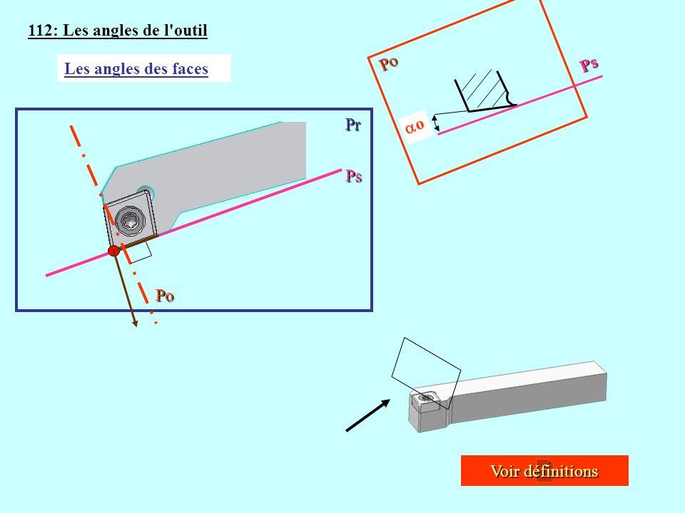 112: Les angles de l outil Po Ps Les angles des faces Pr o Po Ps Voir définitions