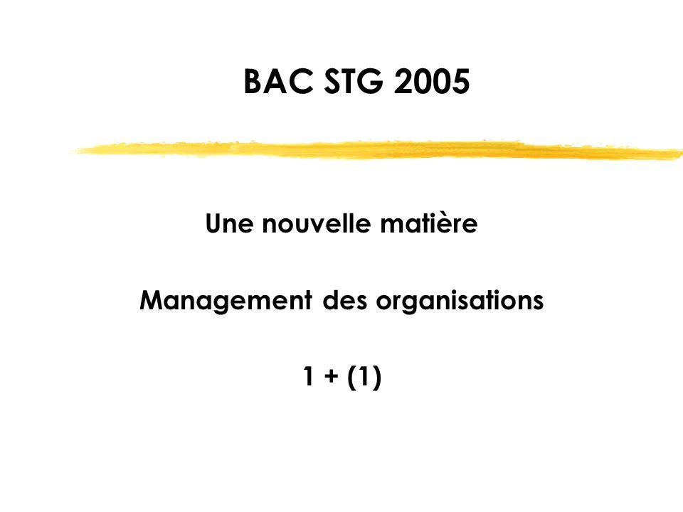 Une nouvelle matière Management des organisations 1 + (1)