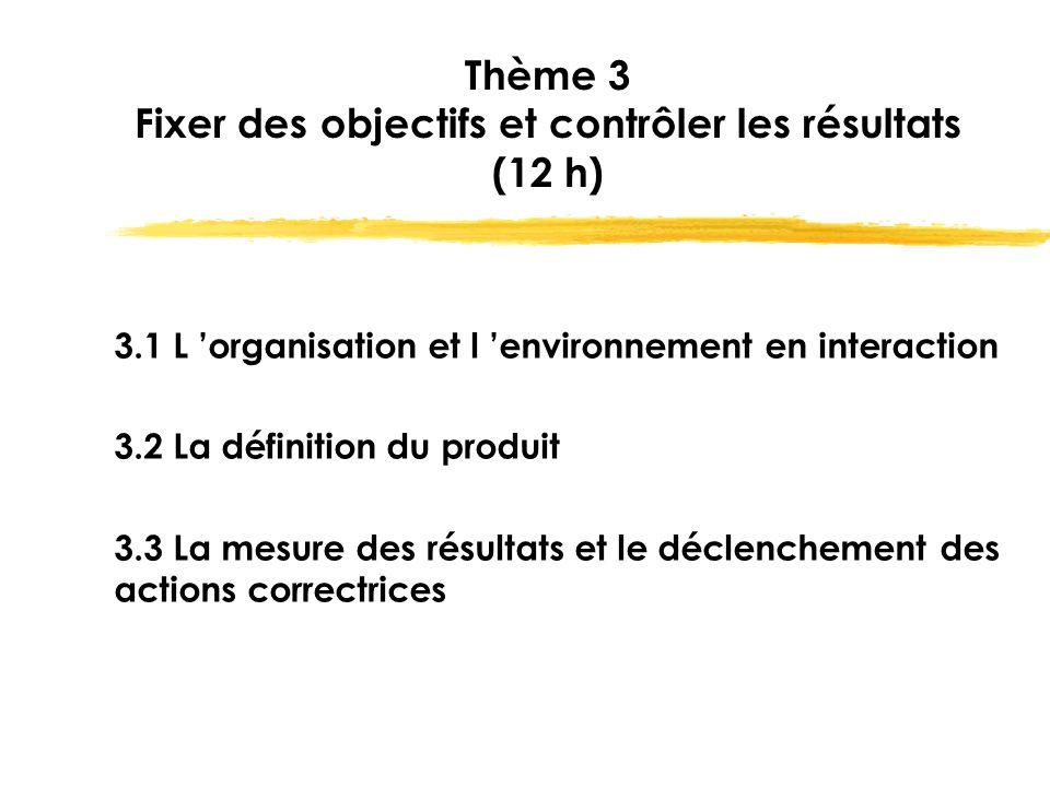 Thème 3 Fixer des objectifs et contrôler les résultats (12 h)