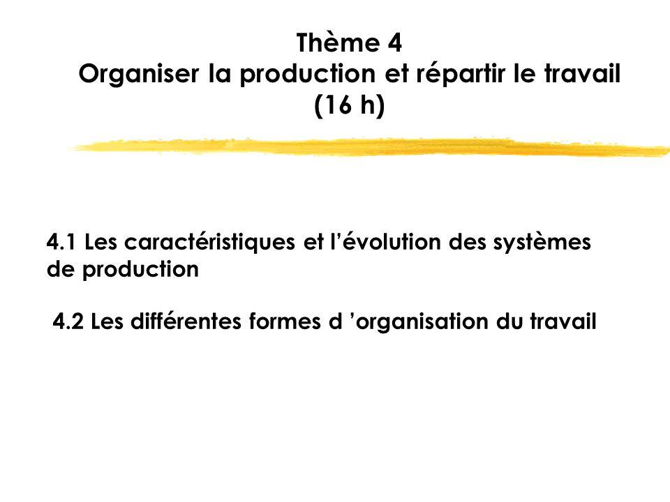 Thème 4 Organiser la production et répartir le travail (16 h)