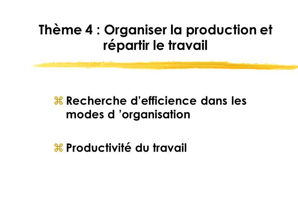 Thème 4 : Organiser la production et répartir le travail