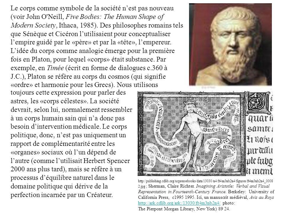 Le corps comme symbole de la société n'est pas nouveau (voir John O Neill, Five Bodies: The Human Shape of Modern Society, Ithaca, 1985). Des philosophes romains tels que Sénèque et Cicéron l'utilisaient pour conceptualiser l'empire guidé par le «père» et par la «tête», l'empereur. L'idée du corps comme analogie émerge pour la première fois en Platon, pour lequel «corps» était substance. Par exemple, en Timée (écrit en forme de dialogues c.360 à J.C.), Platon se réfère au corps du cosmos (qui signifie «ordre» et harmonie pour les Grecs). Nous utilisons