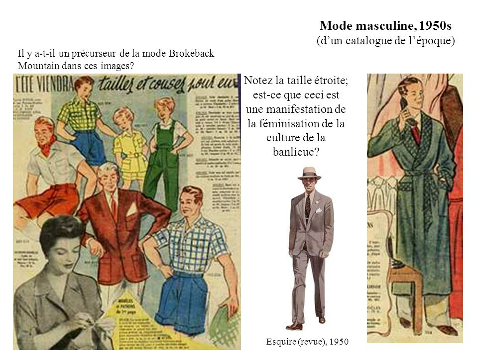 Mode masculine, 1950s (d'un catalogue de l'époque)