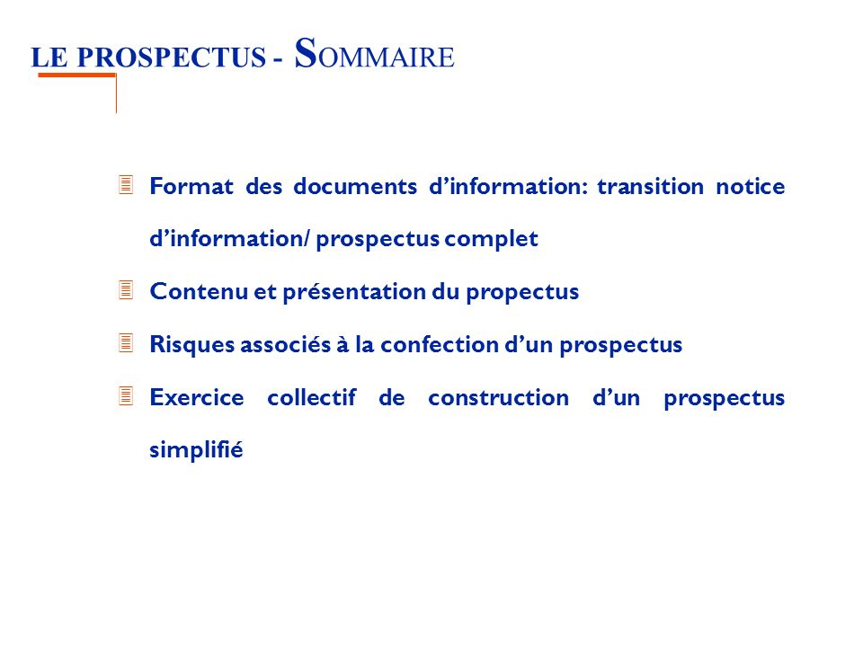 LE PROSPECTUS - SOMMAIRE