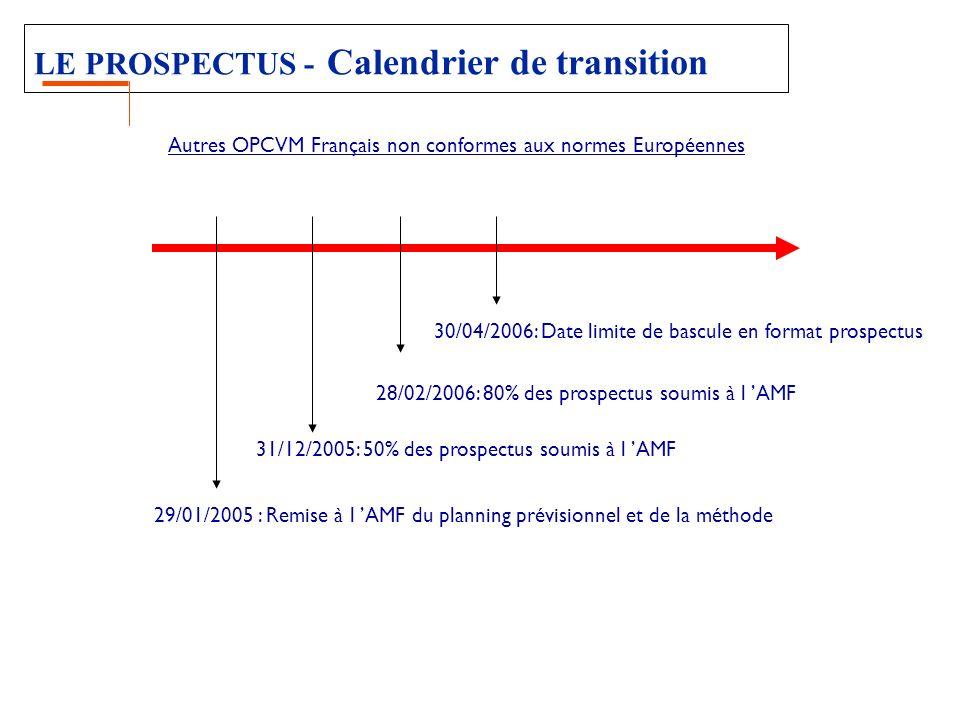 LE PROSPECTUS - Calendrier de transition