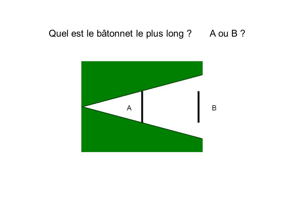 Quel est le bâtonnet le plus long A ou B