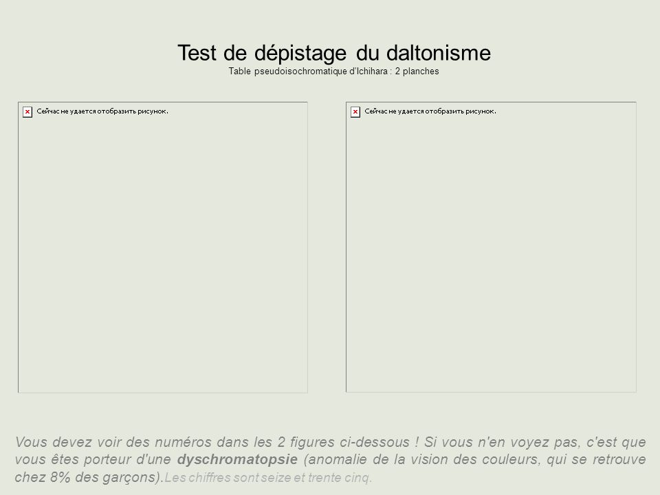 Test de dépistage du daltonisme Table pseudoisochromatique d Ichihara : 2 planches