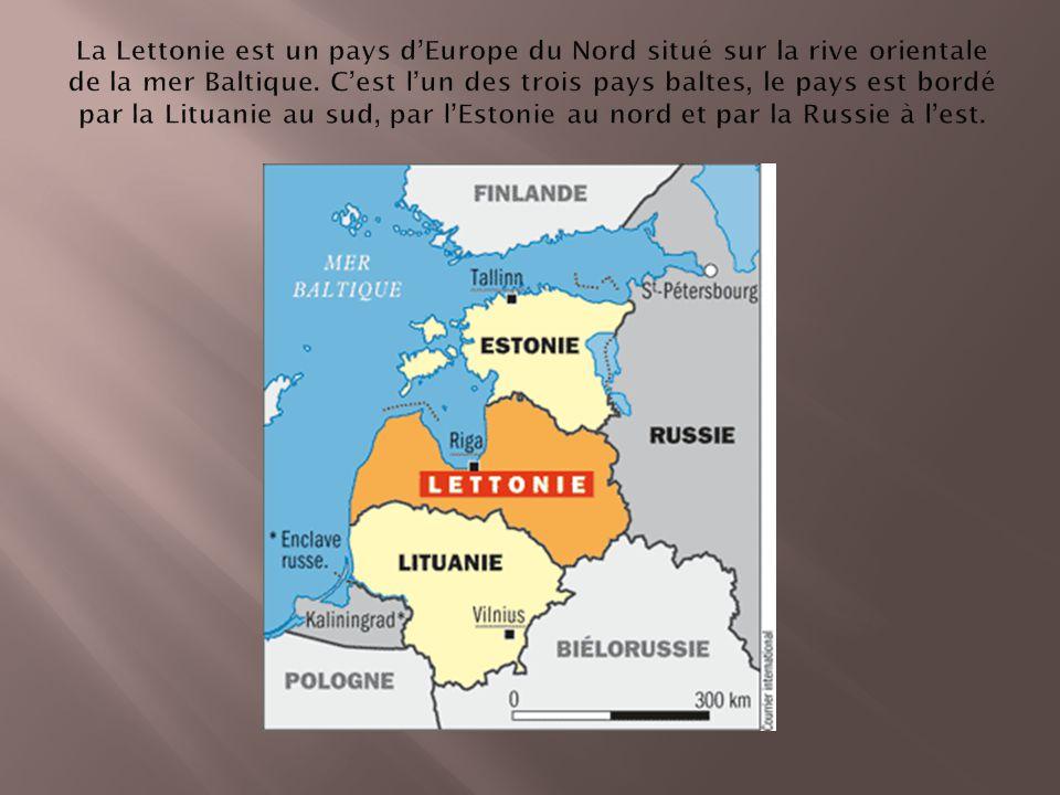 La Lettonie est un pays d'Europe du Nord situé sur la rive orientale de la mer Baltique.