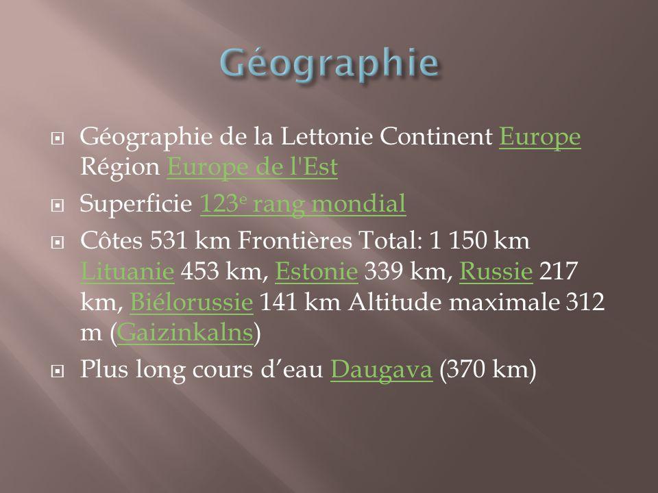 Géographie Géographie de la Lettonie Continent Europe Région Europe de l Est. Superficie 123e rang mondial.