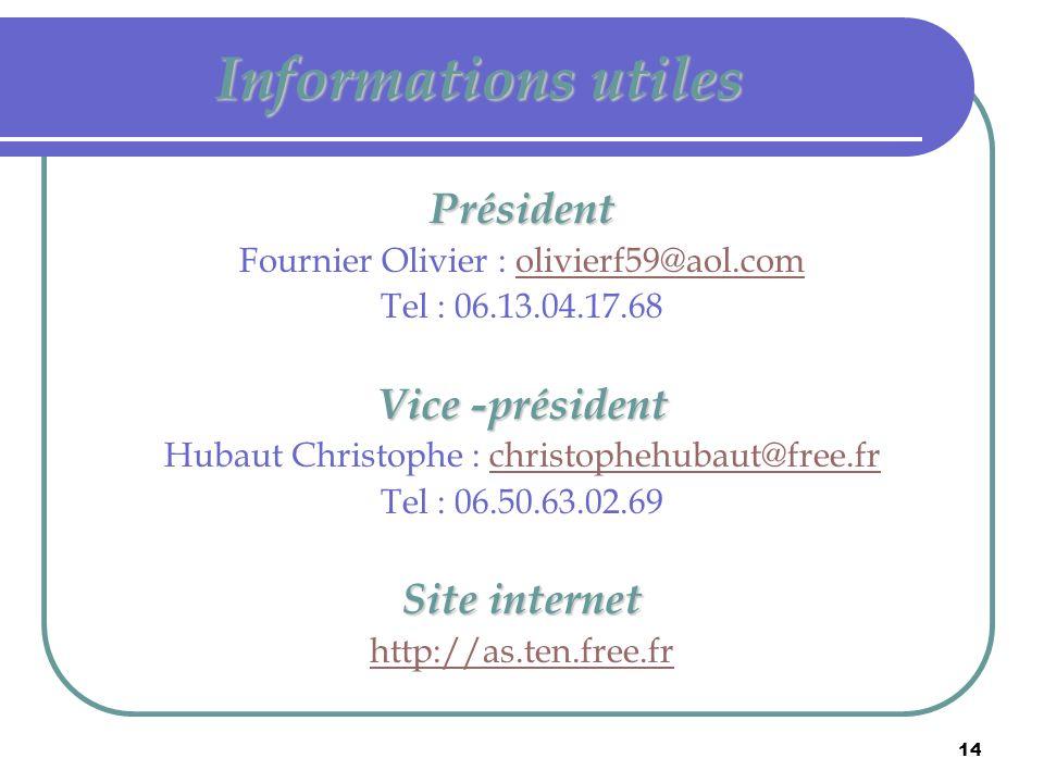 Informations utiles Président Vice -président Site internet