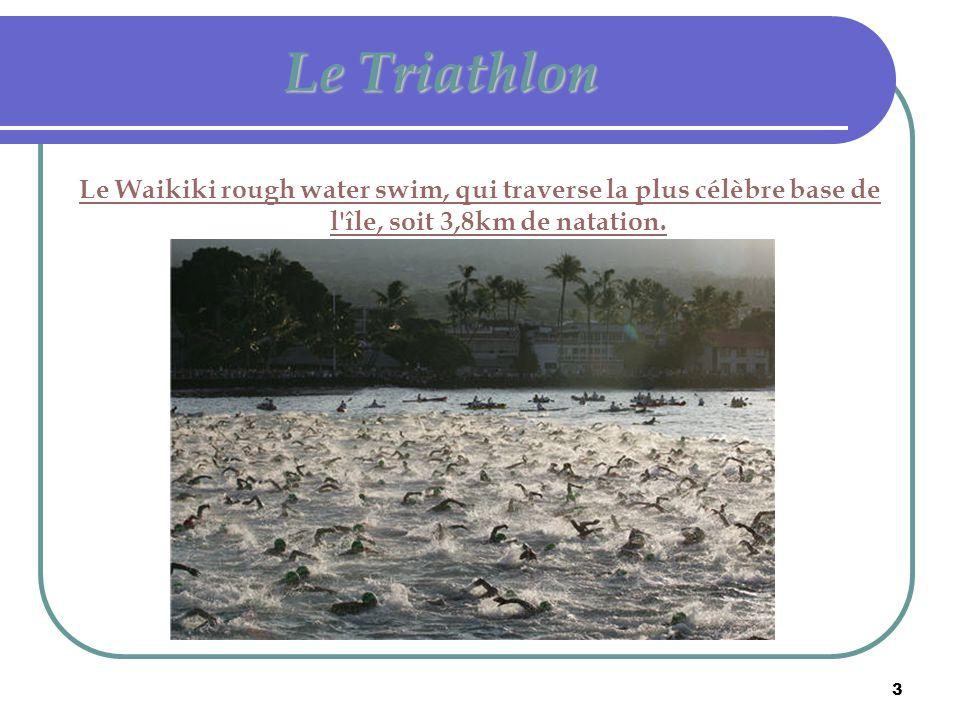 Le Triathlon Le Waikiki rough water swim, qui traverse la plus célèbre base de l île, soit 3,8km de natation.
