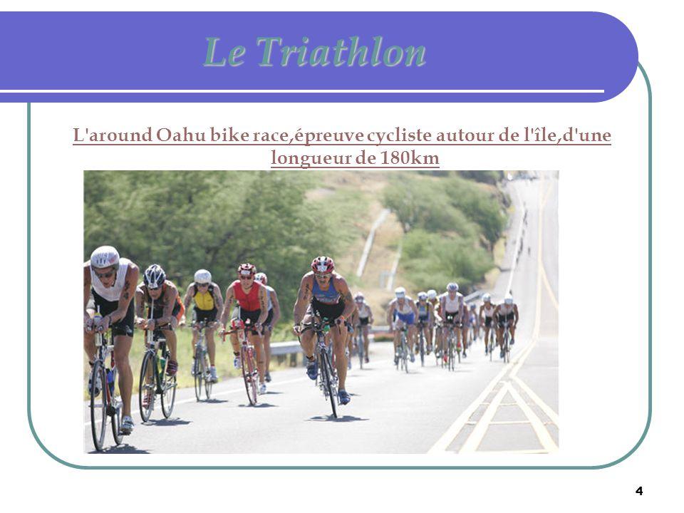 Le Triathlon L around Oahu bike race,épreuve cycliste autour de l île,d une longueur de 180km