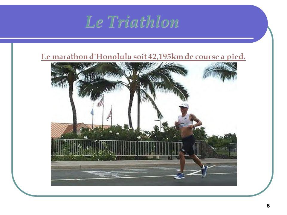 Le marathon d Honolulu soit 42,195km de course a pied.