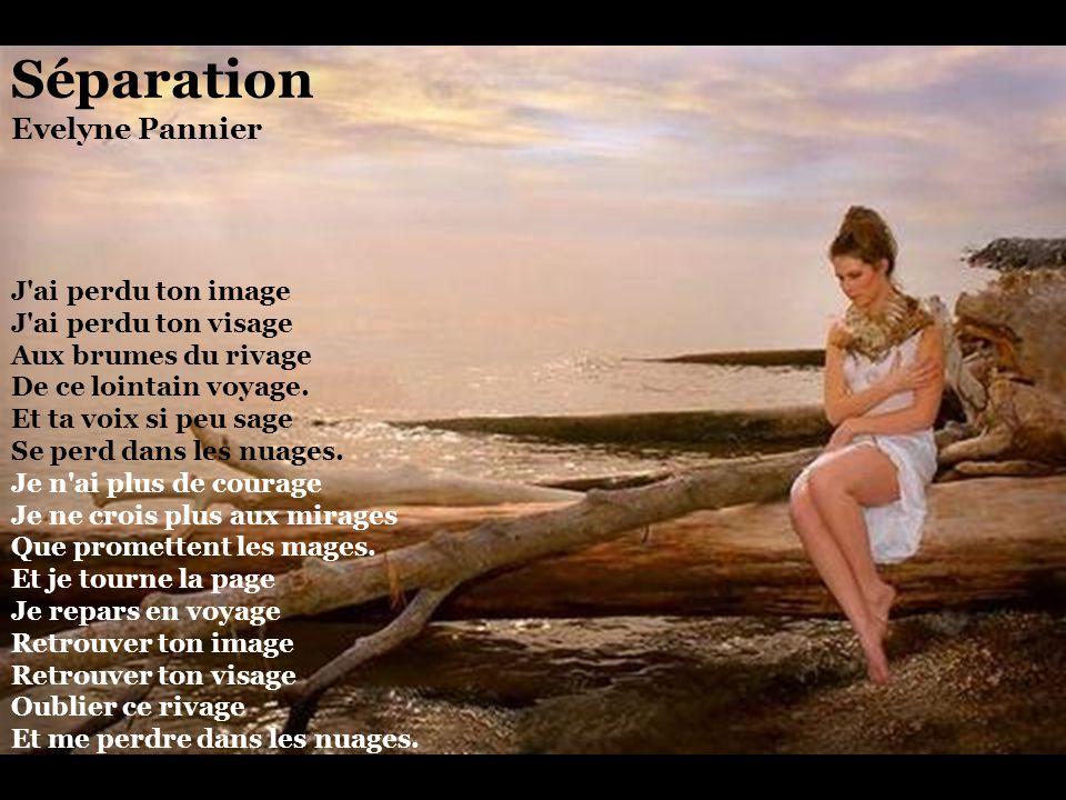Séparation Evelyne Pannier J ai perdu ton image J ai perdu ton visage Aux brumes du rivage De ce lointain voyage.