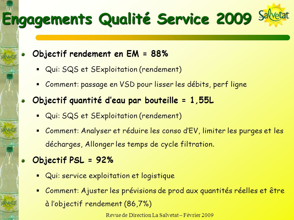 Engagements Qualité Service 2009