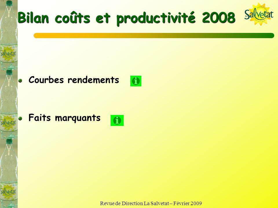Bilan coûts et productivité 2008