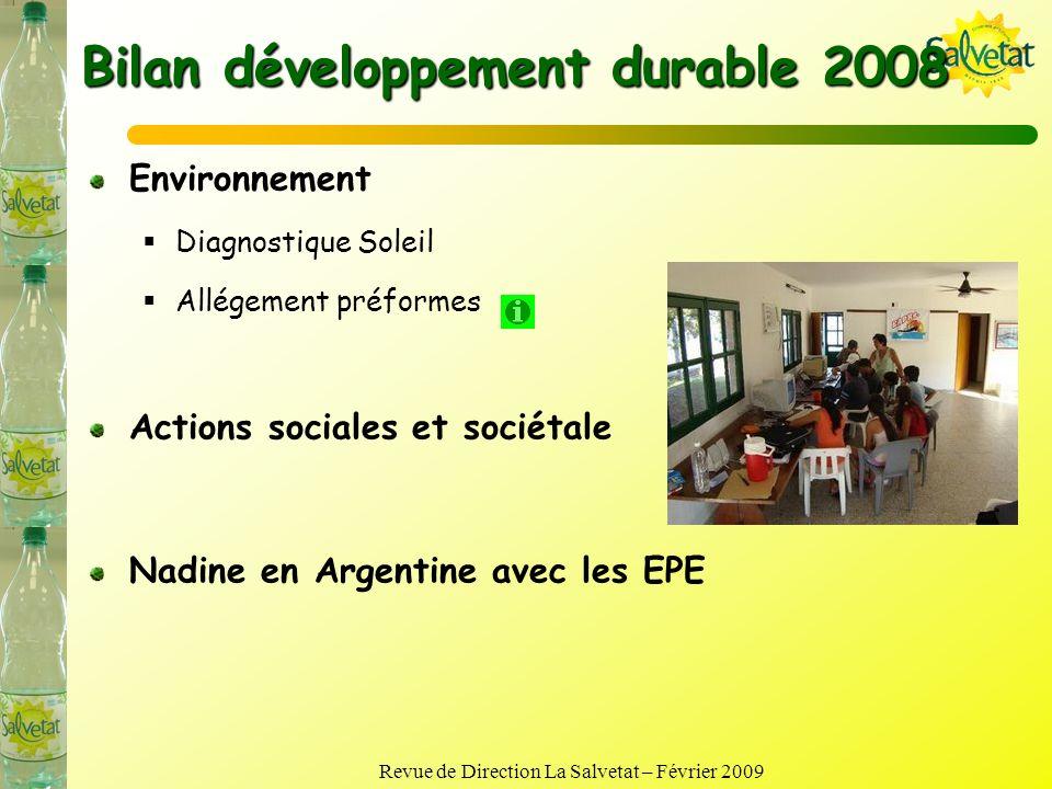 Bilan développement durable 2008
