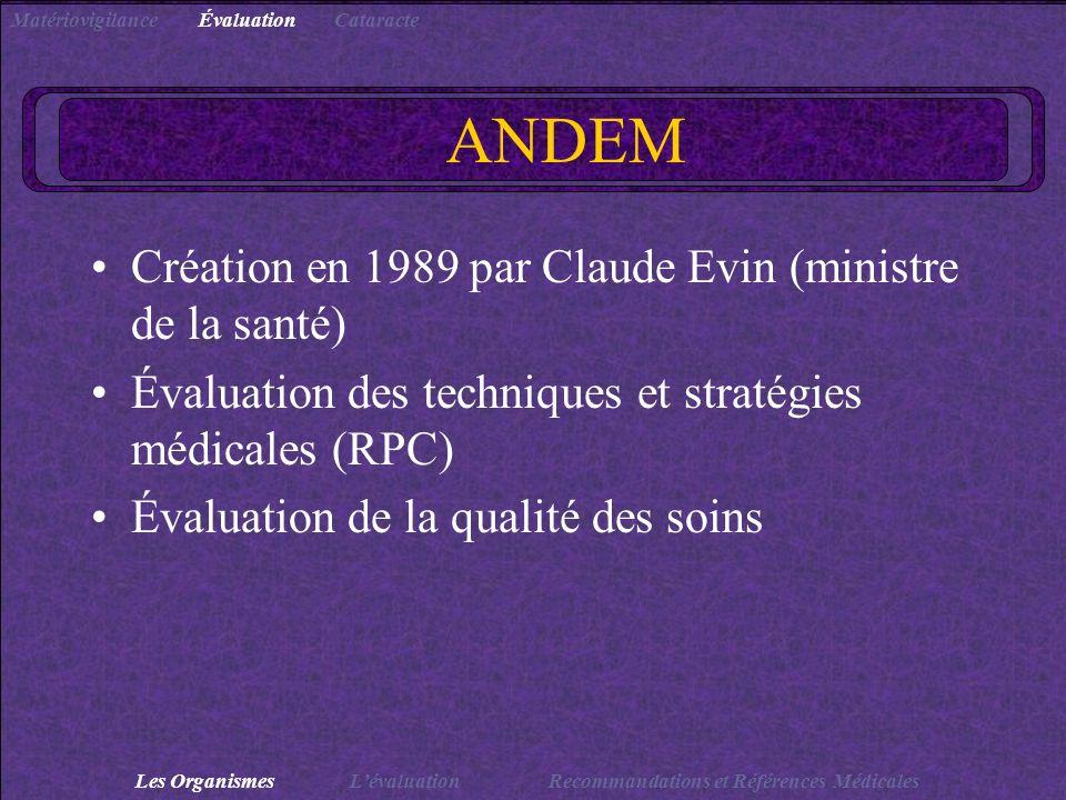 ANDEM Création en 1989 par Claude Evin (ministre de la santé)