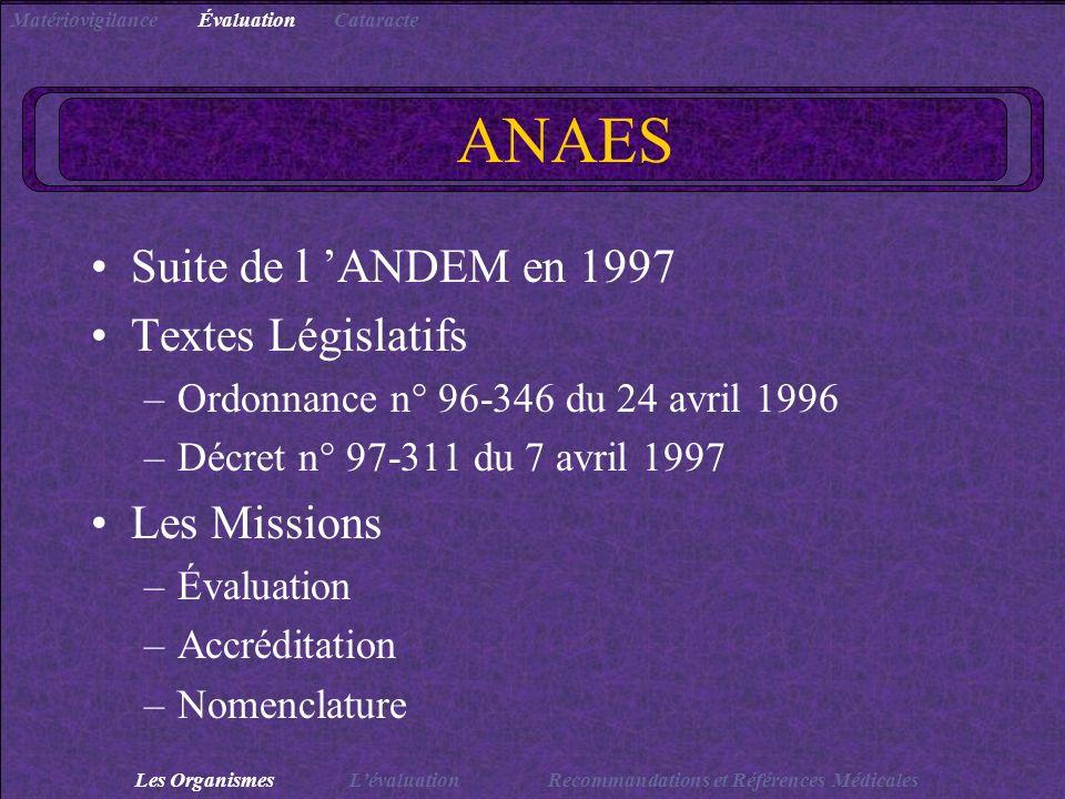 ANAES Suite de l 'ANDEM en 1997 Textes Législatifs Les Missions