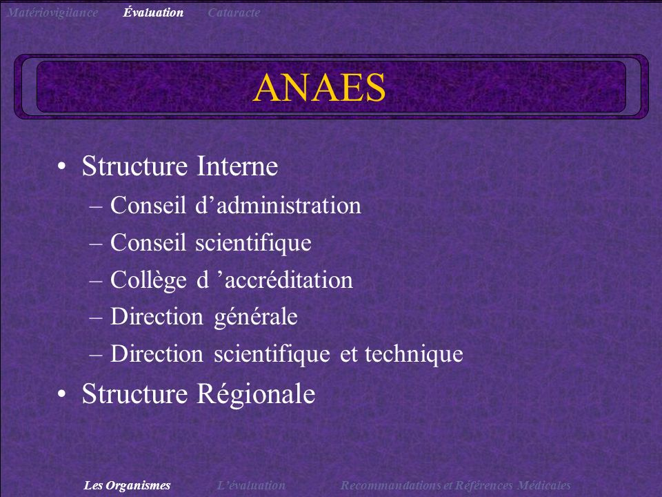 ANAES Structure Interne Structure Régionale Conseil d'administration