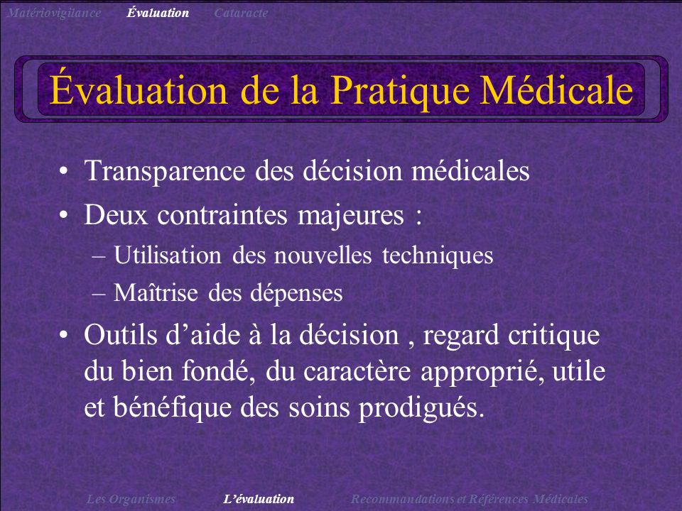 Évaluation de la Pratique Médicale