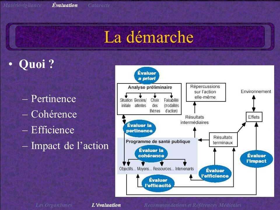 La démarche Quoi Pertinence Cohérence Efficience Impact de l'action