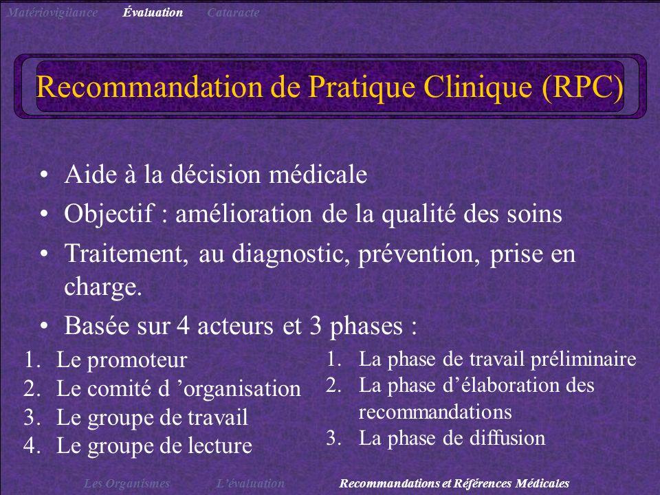 Recommandation de Pratique Clinique (RPC)