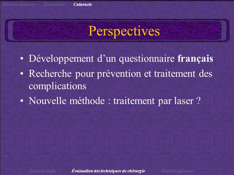 Perspectives Développement d'un questionnaire français
