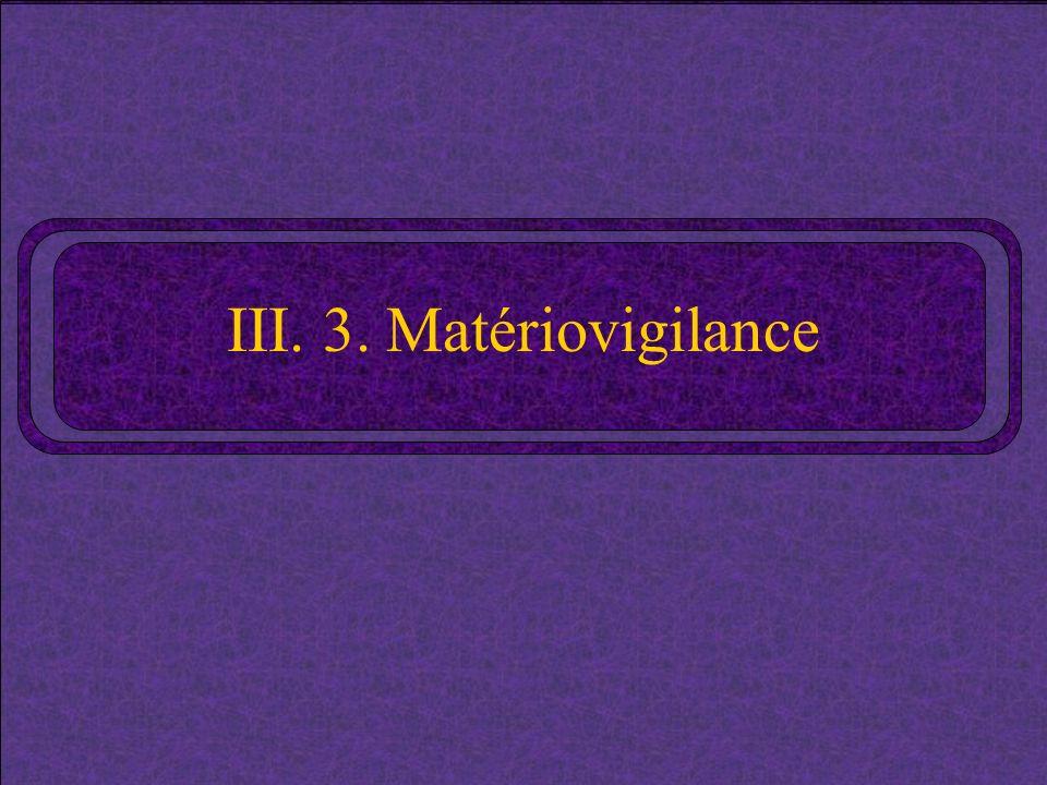 III. 3. Matériovigilance