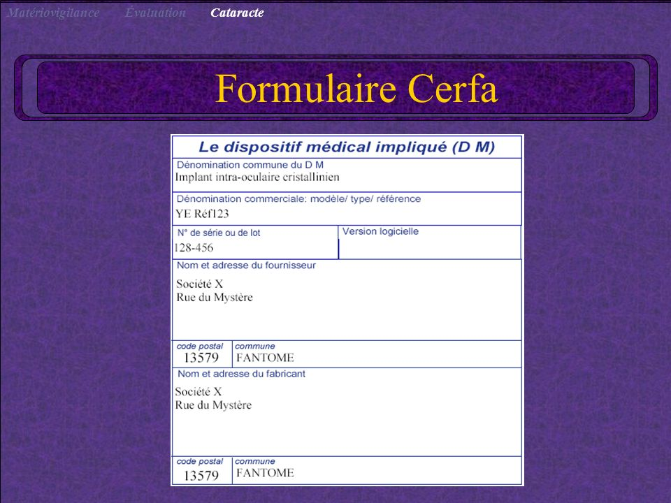 Cataracte Évaluation Matériovigilance Formulaire Cerfa