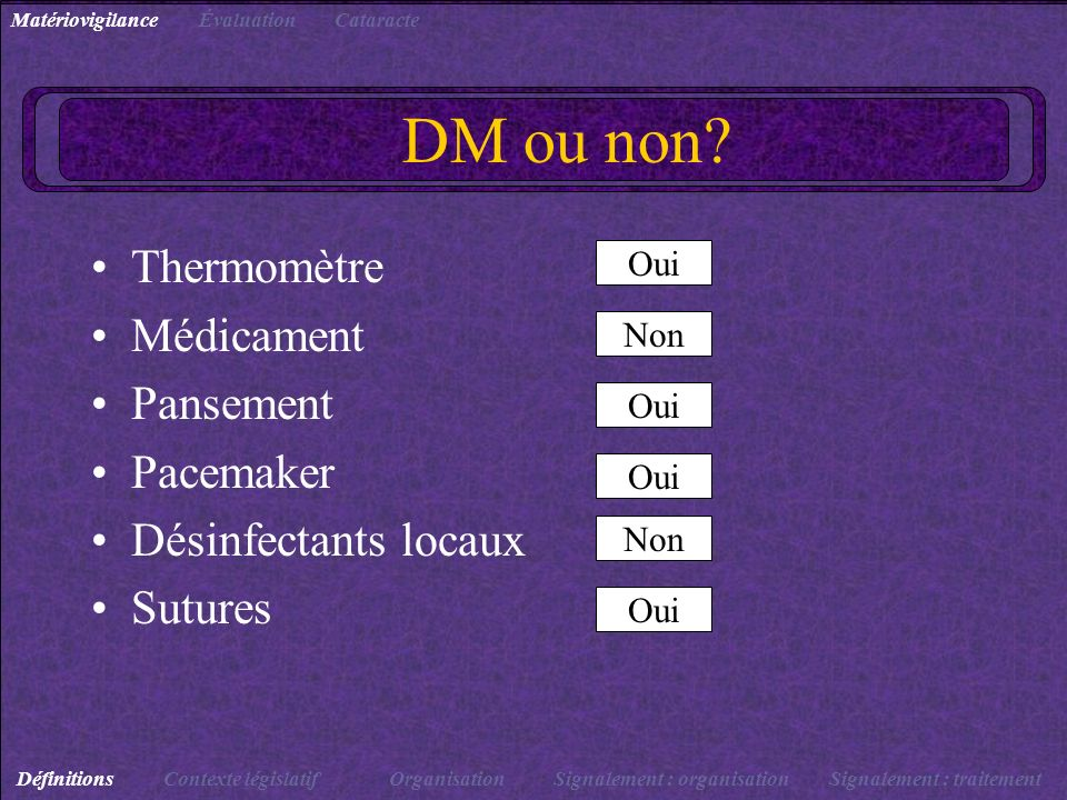 DM ou non Thermomètre Médicament Pansement Pacemaker