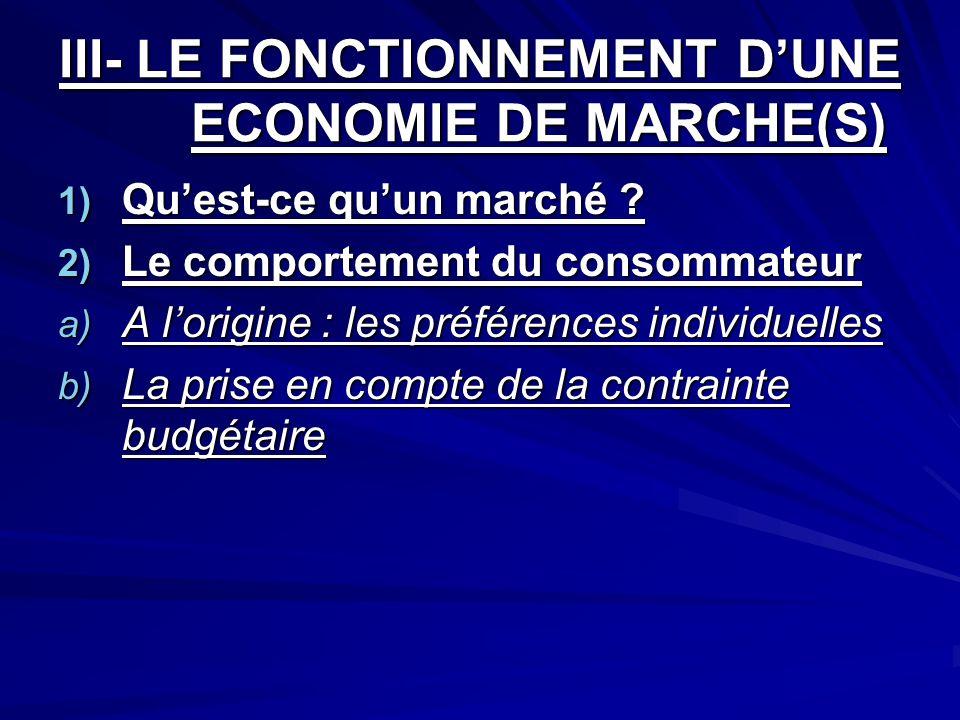 III- LE FONCTIONNEMENT D'UNE ECONOMIE DE MARCHE(S)