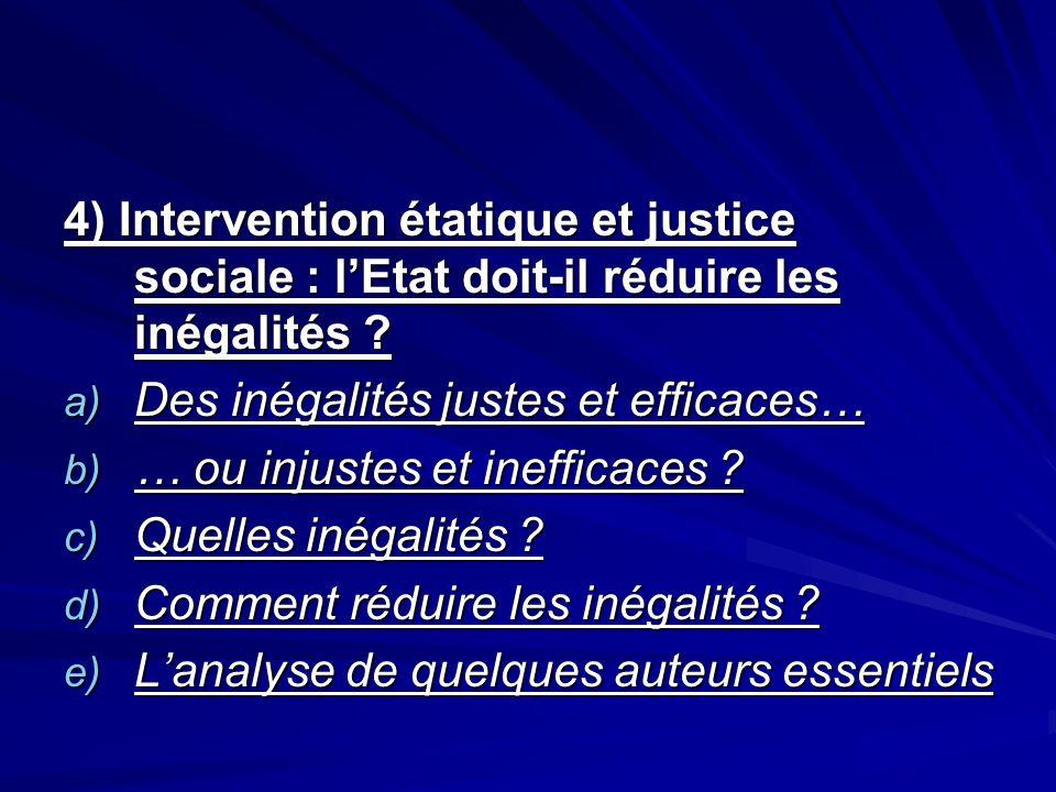 4) Intervention étatique et justice sociale : l'Etat doit-il réduire les inégalités