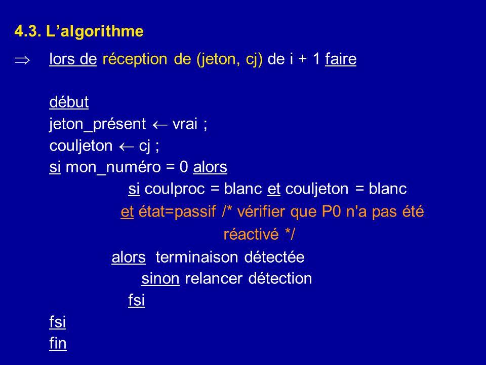 4.3. L'algorithme lors de réception de (jeton, cj) de i + 1 faire. début. jeton_présent  vrai ; couljeton  cj ;
