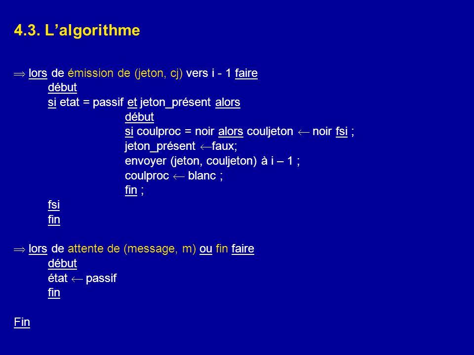 4.3. L'algorithme  lors de émission de (jeton, cj) vers i - 1 faire