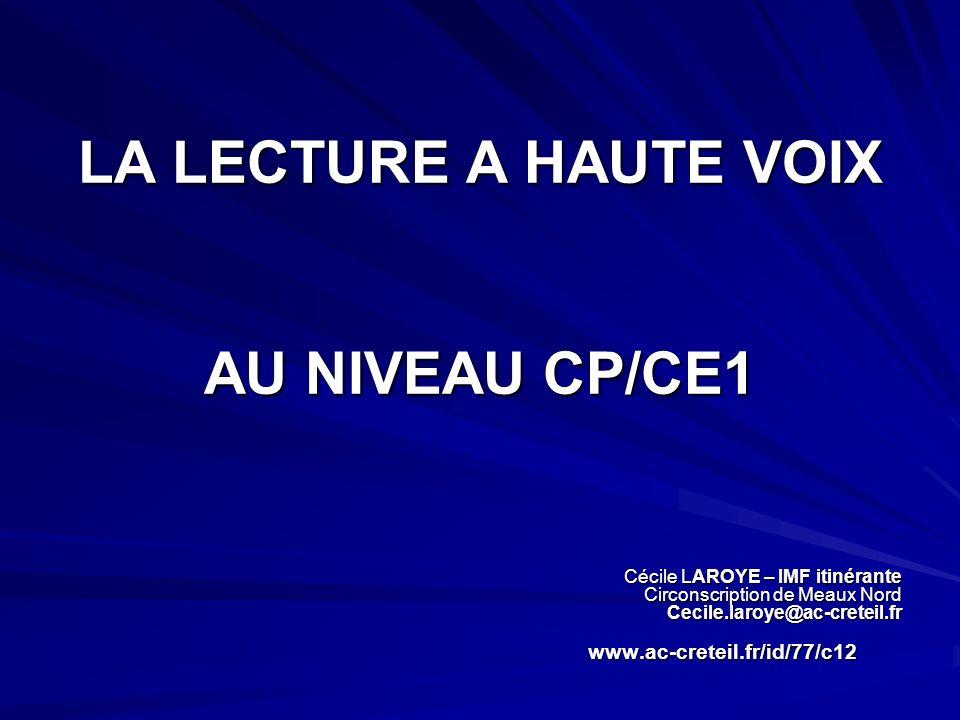 LA LECTURE A HAUTE VOIX AU NIVEAU CP/CE1