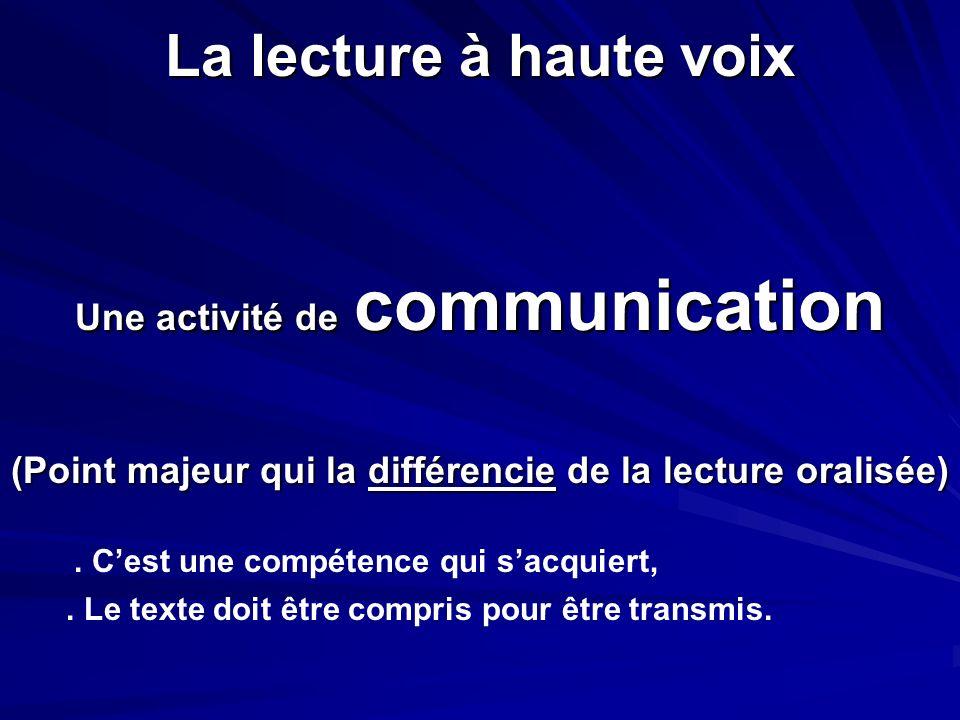 La lecture à haute voix Une activité de communication