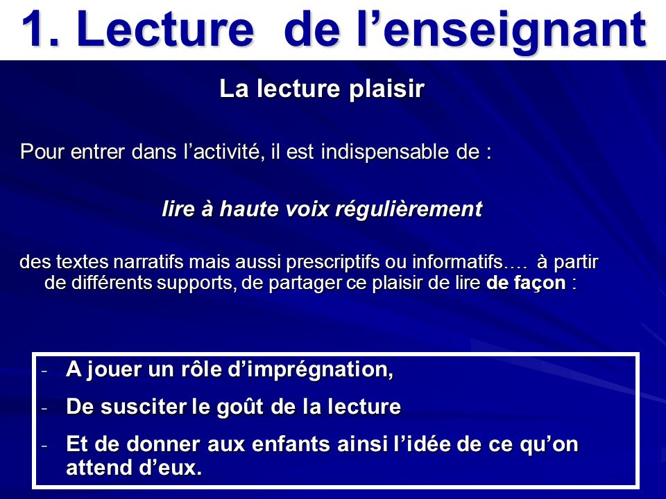1. Lecture de l'enseignant lire à haute voix régulièrement