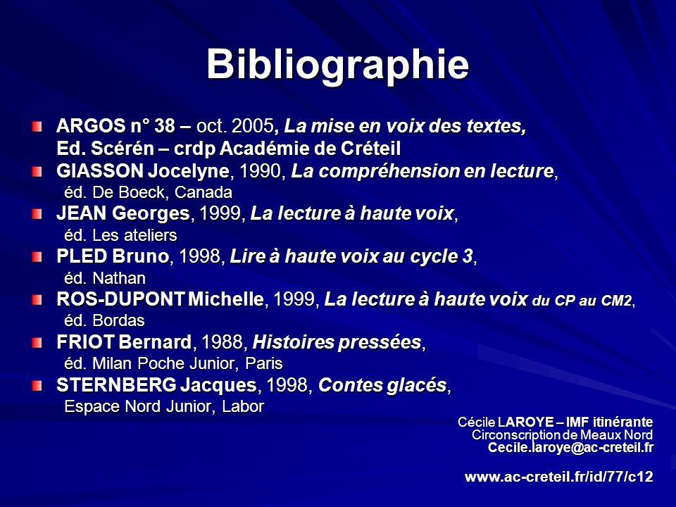 Bibliographie ARGOS n° 38 – oct. 2005, La mise en voix des textes,