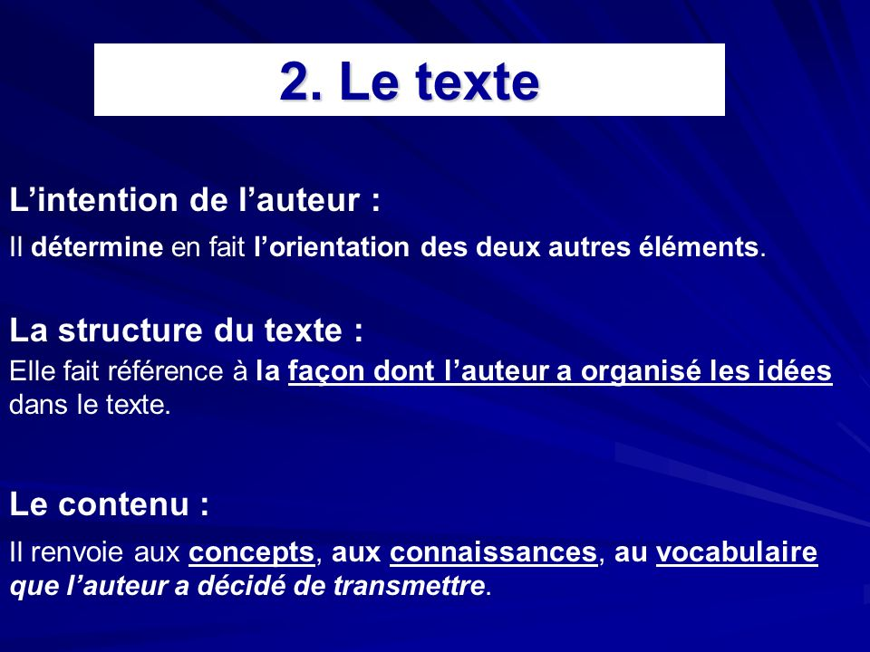2. Le texte L'intention de l'auteur : La structure du texte :