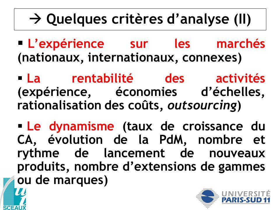  Quelques critères d'analyse (II)