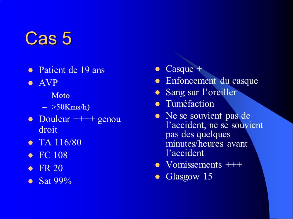 Cas 5 Patient de 19 ans AVP Douleur ++++ genou droit TA 116/80 FC 108