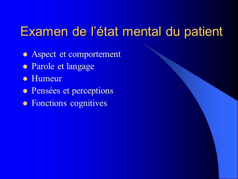 Examen de l'état mental du patient