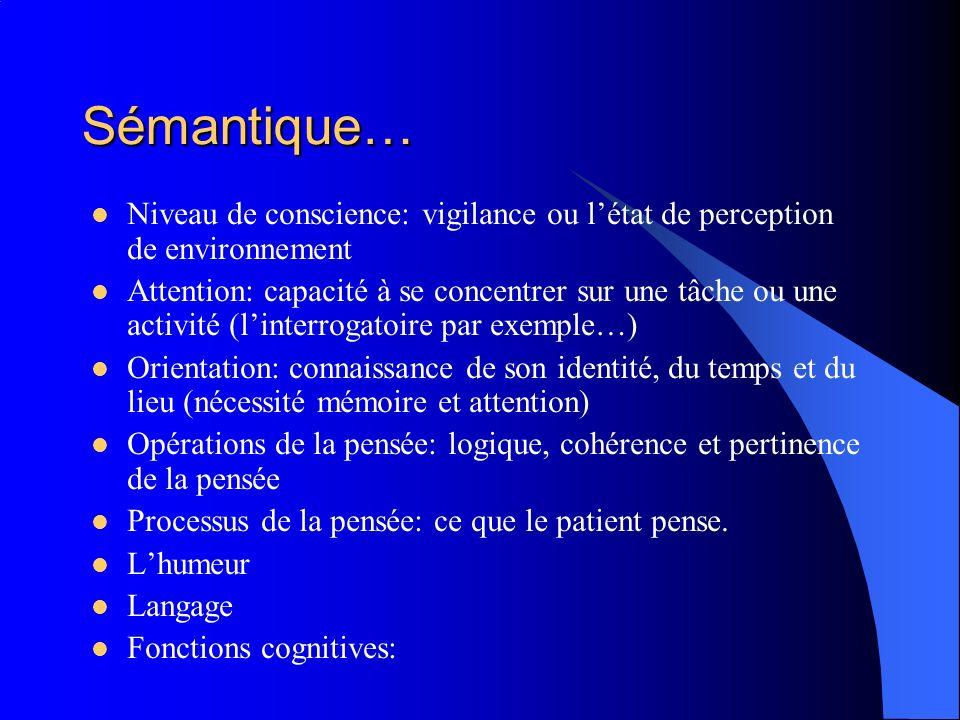 Sémantique… Niveau de conscience: vigilance ou l'état de perception de environnement.