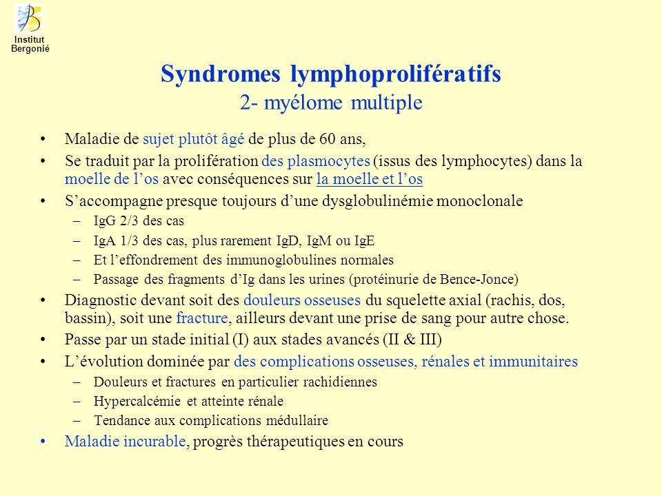 Syndromes lymphoprolifératifs 2- myélome multiple