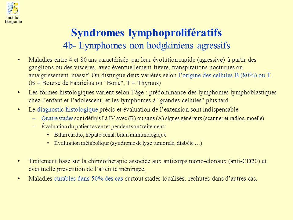 Syndromes lymphoprolifératifs 4b- Lymphomes non hodgkiniens agressifs