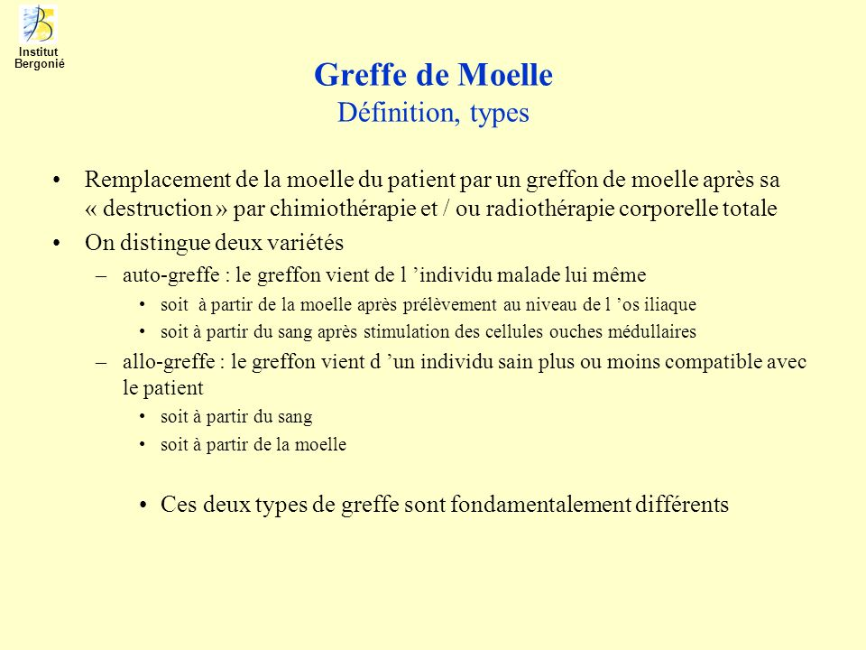 Greffe de Moelle Définition, types