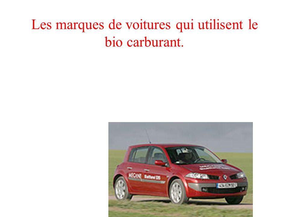 Les marques de voitures qui utilisent le bio carburant.